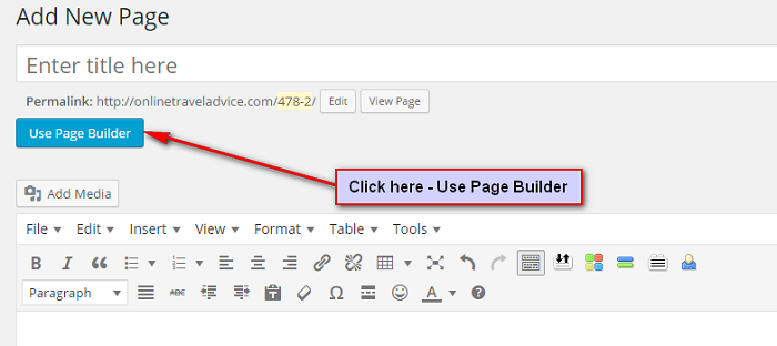 how to use the divi builder New page